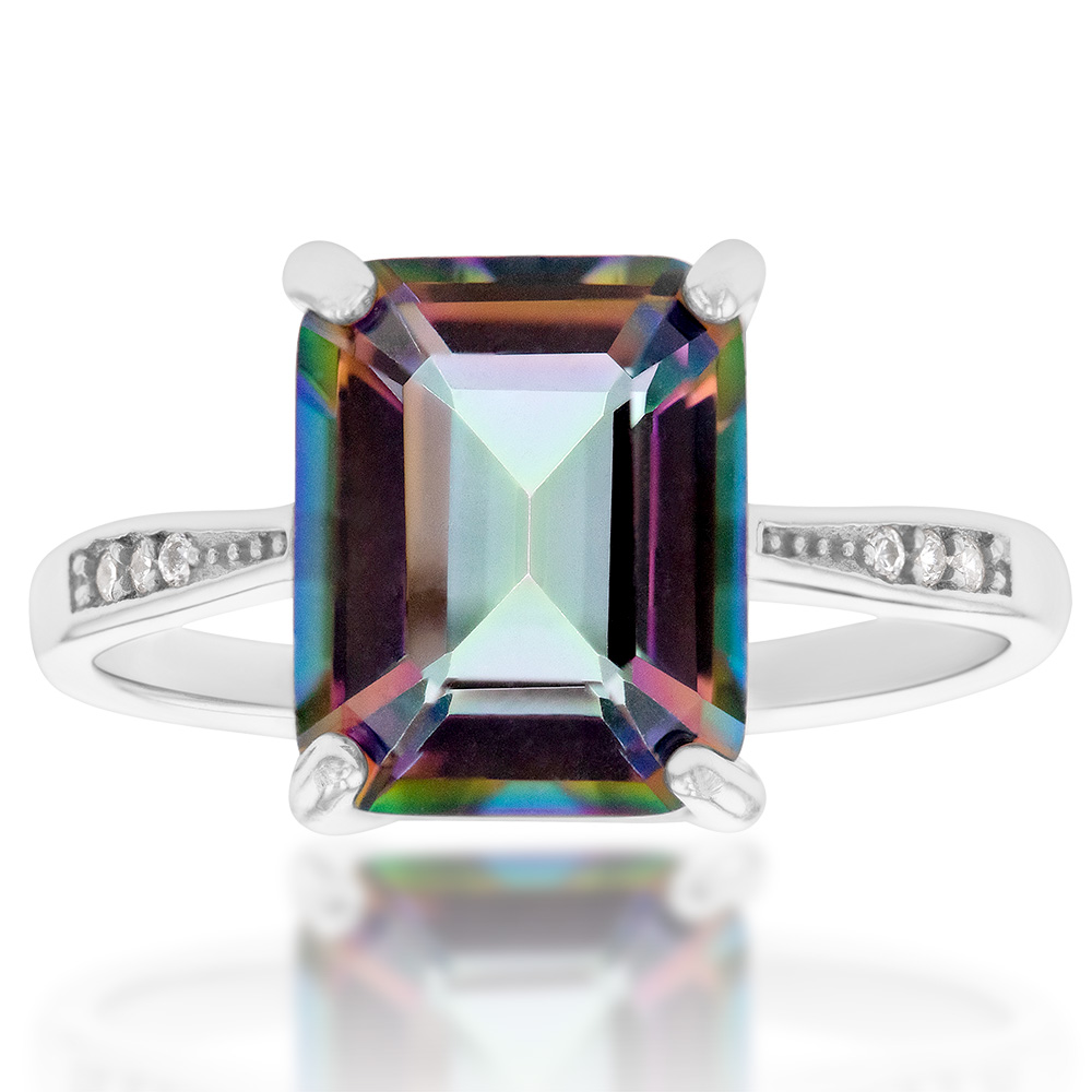 Sterling Silver Mystic Topaz Ring with Zirconia Accent