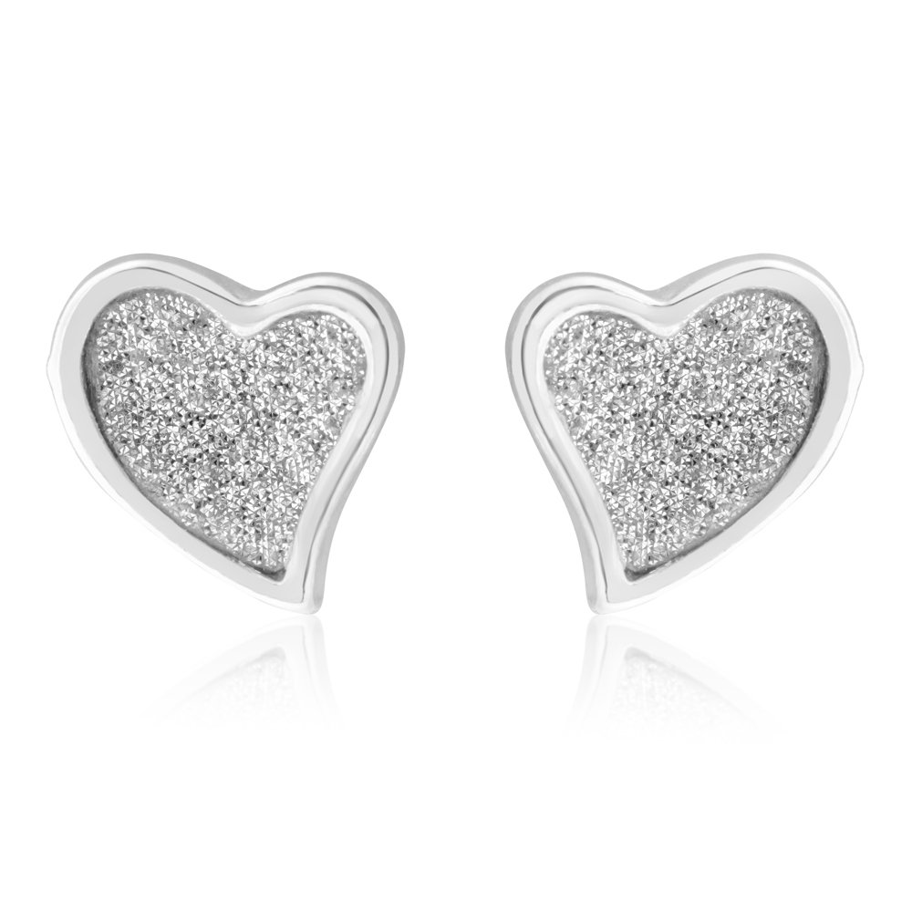 Sterling Silver Stardust Heart Stud Earrings
