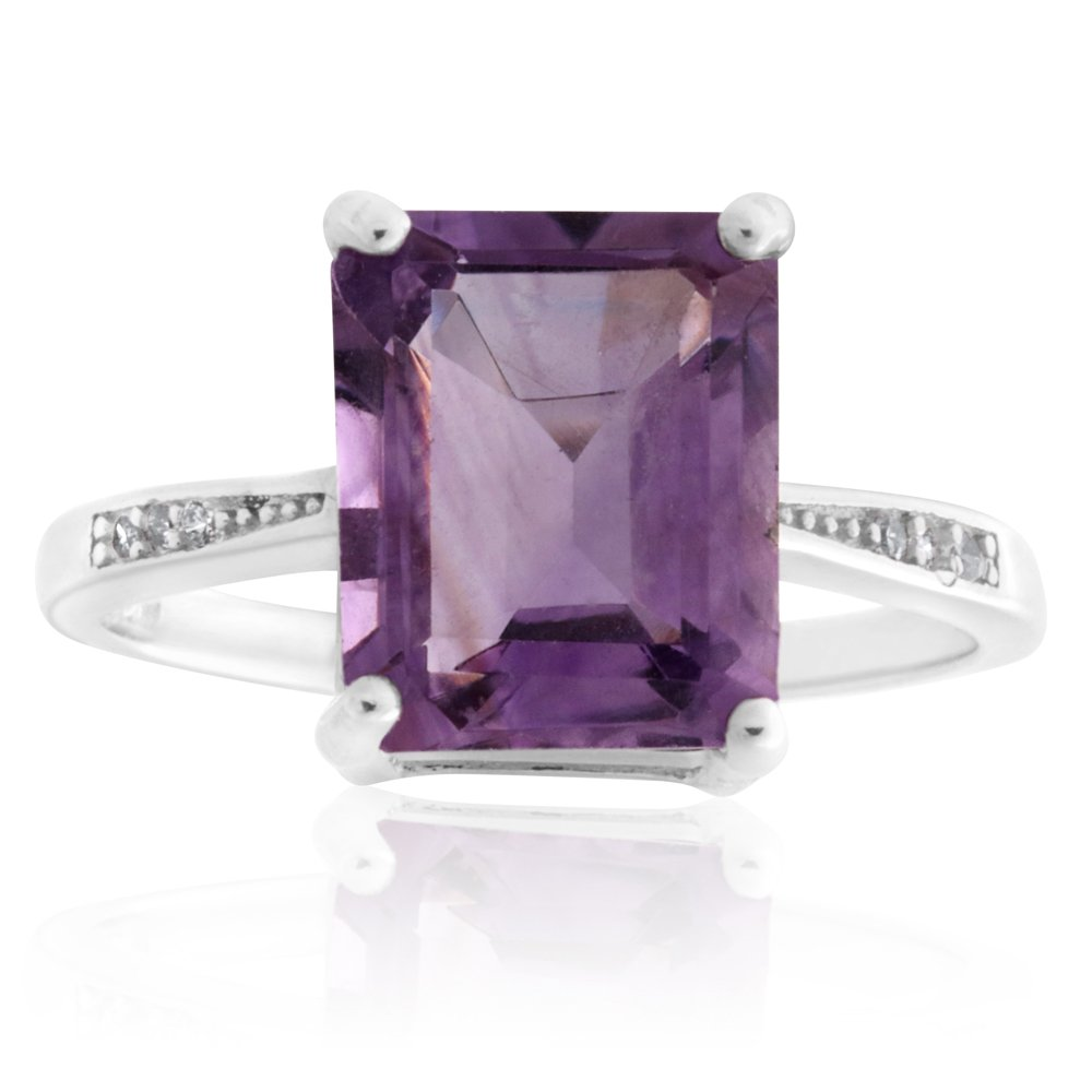 Sterling Silver Amethyst and Zirconia Ring