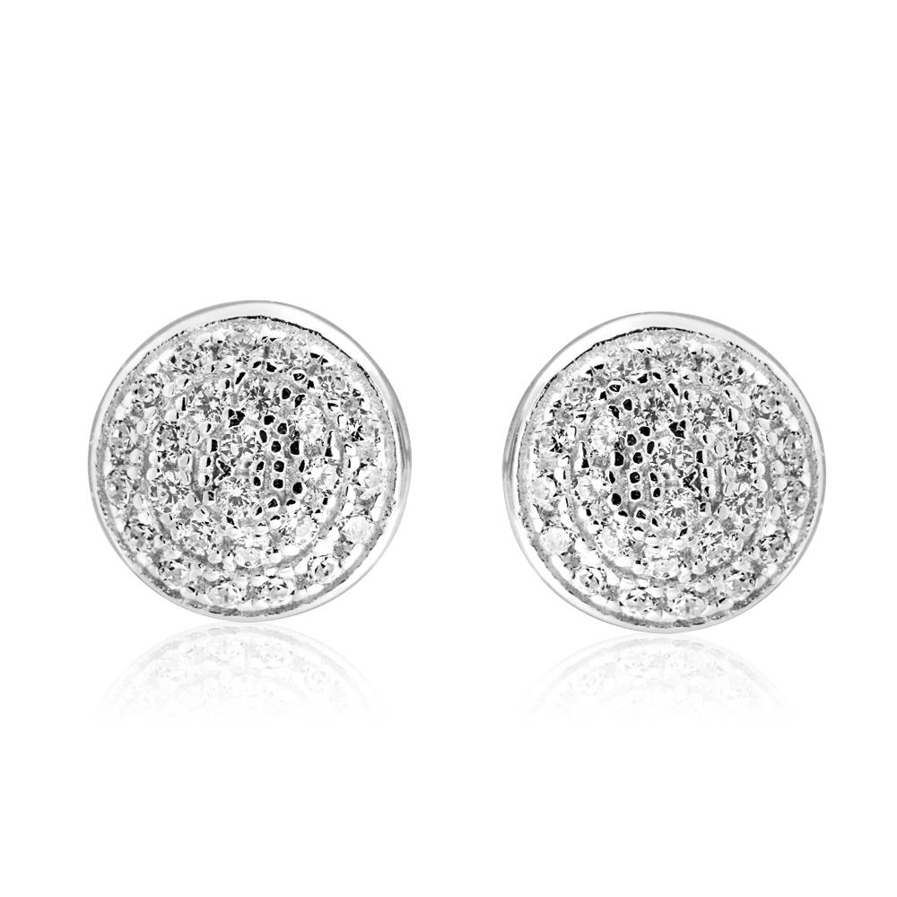 Sterling Silver Round Zirconia Stud Earrings