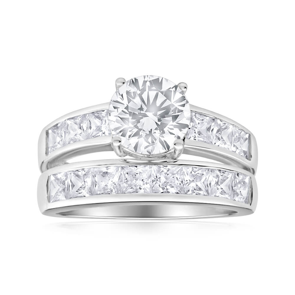 Sterling Silver Cubic Zirconia 8mm Ring
