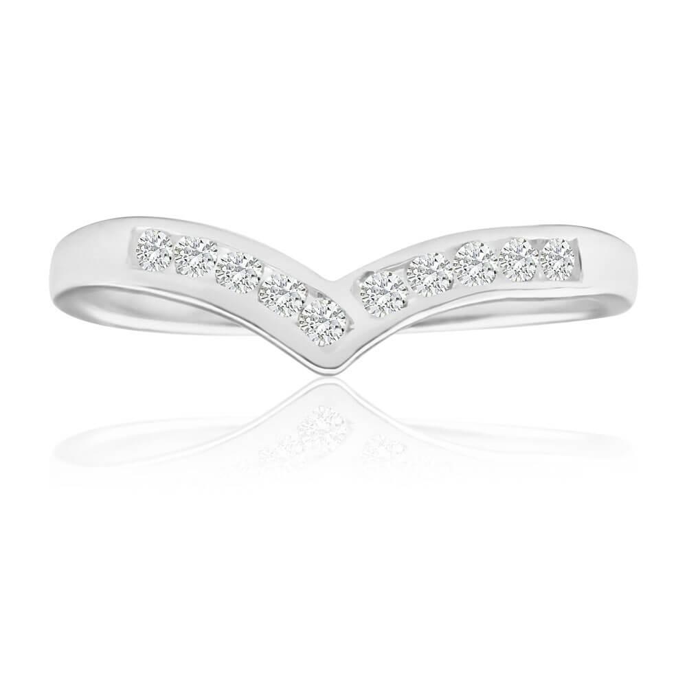 Sterling Silver Zirconia Wishbone Ring