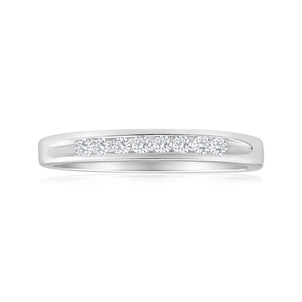 Sterling Silver Cubic Zirconia x8 Channel Set Ring