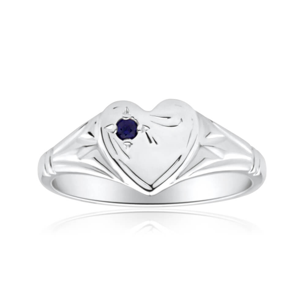 Sterling Silver Natural Sapphire Signet Heart Ring Size H
