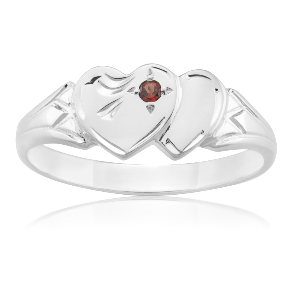 Sterling Silver Garnet 2Heart Signet Ring Size H