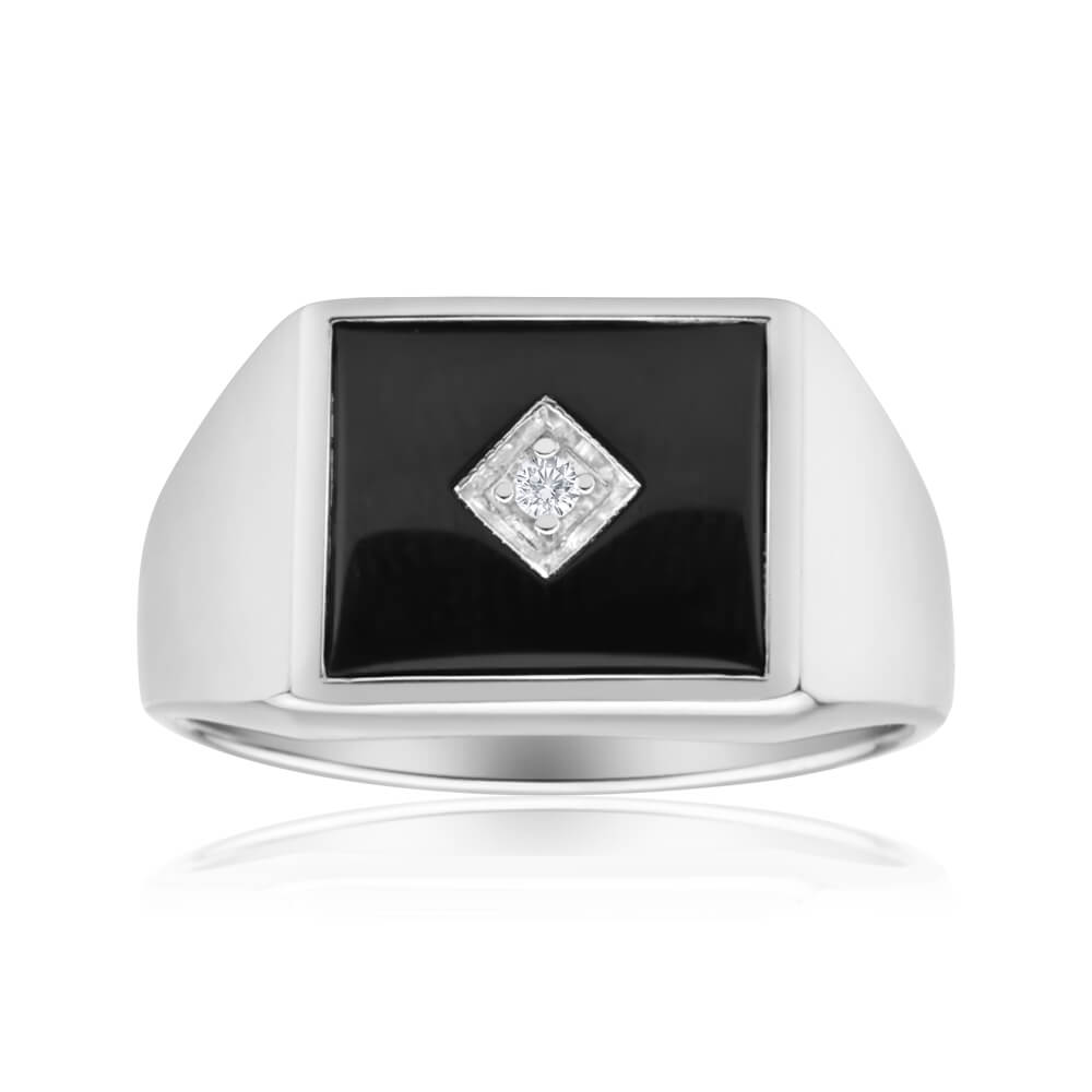 Sterling Silver Cubic Zirconia + Onyx Classic Ring