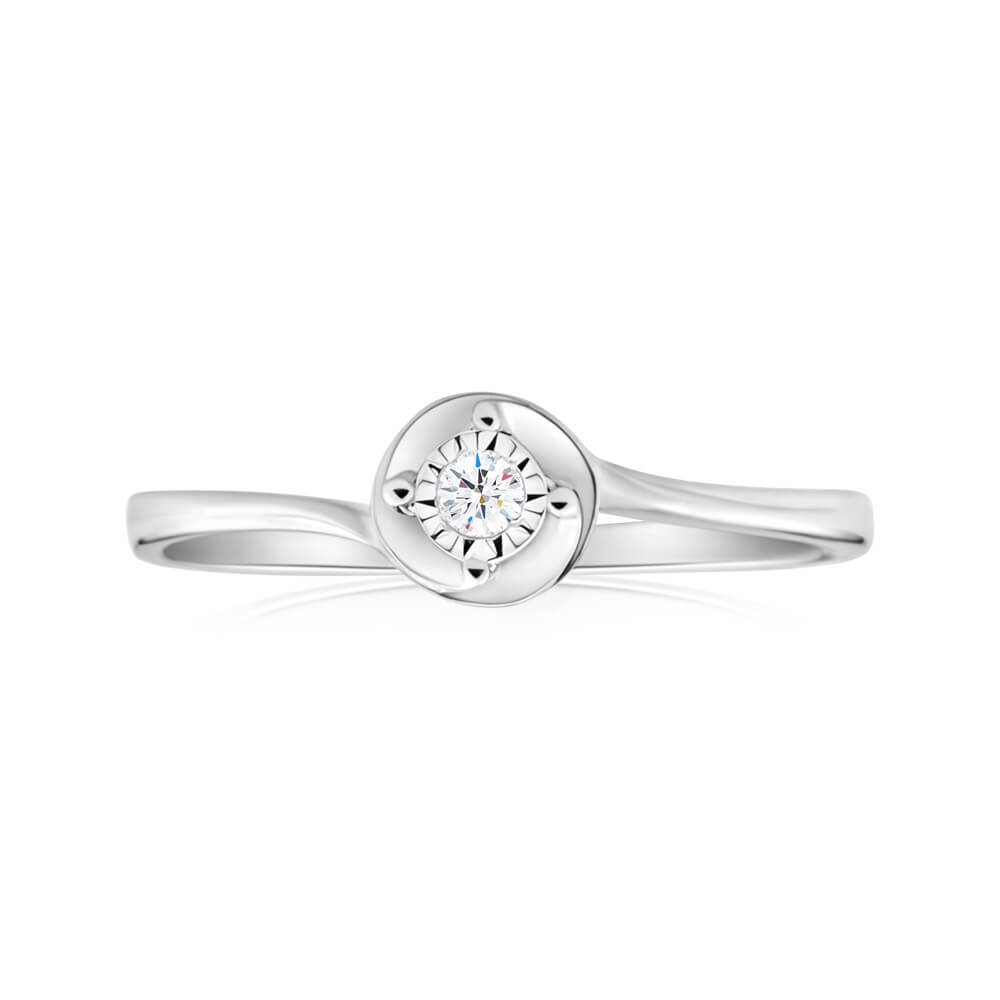 Sterling Silver Ring With Brilliant Cut Diamond