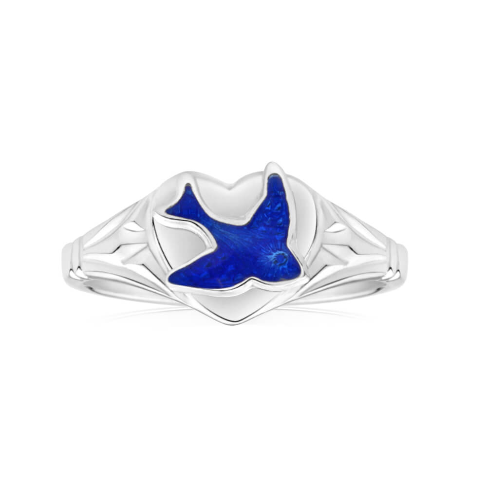 Sterling Silver Kids Signet Ring With Bluebird