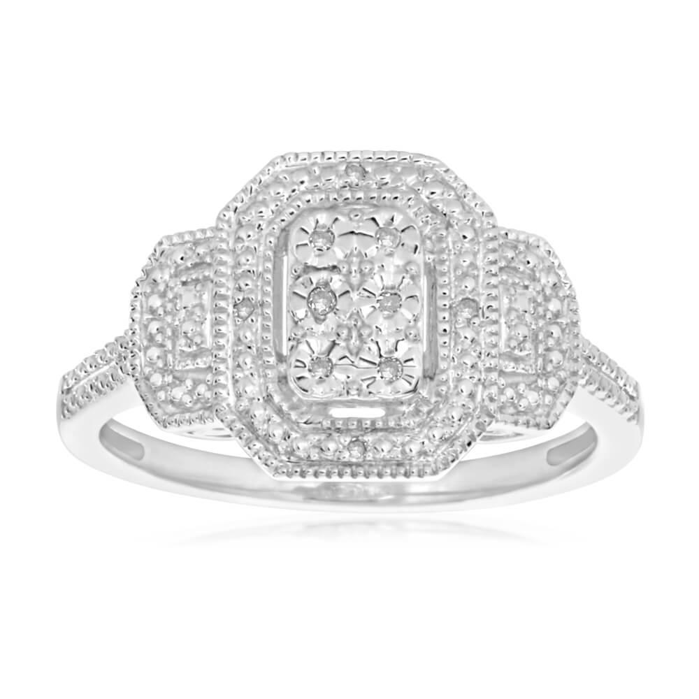 Sterling Silver Prestigious Diamond Ring