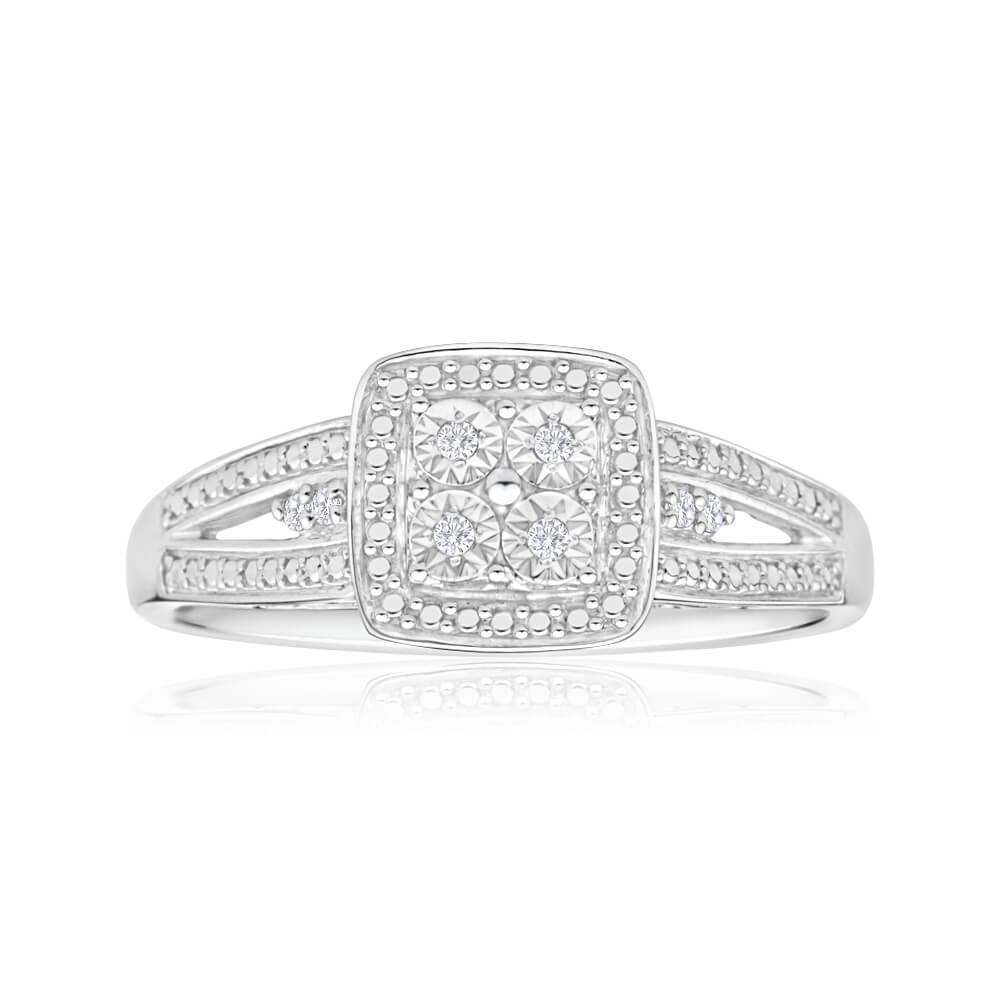 Sterling Silver Striking Diamond Ring