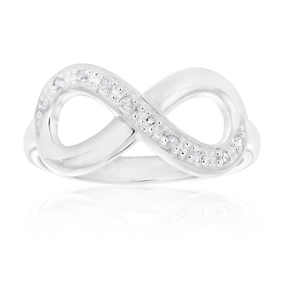 Sterling Silver Classic Infinity Diamond Ring