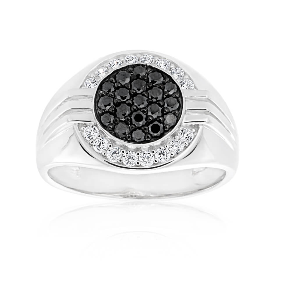 Sterling Silver Rhdium and Black Plating Zirconia Pave Gents Ring