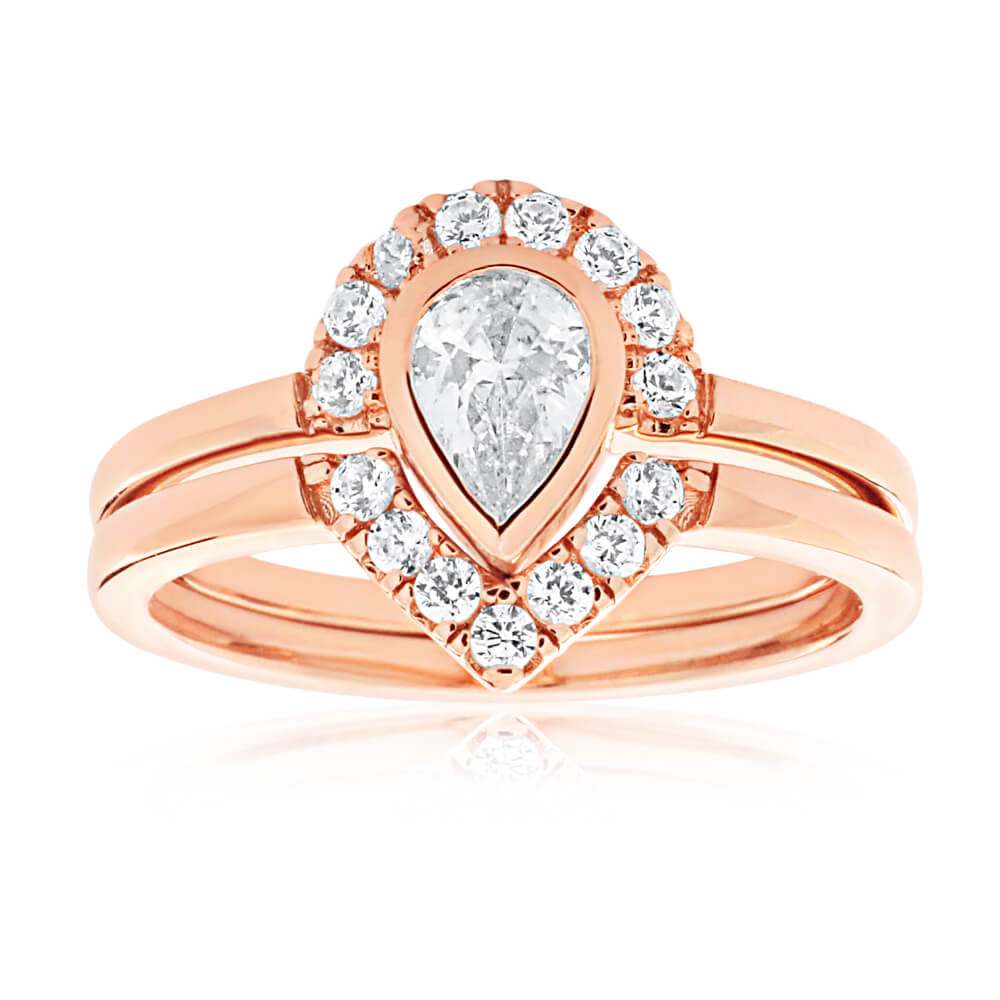 Rose Gold Plated Sterling Silver Cubic Zirconia Pear & Arrow Ring Set
