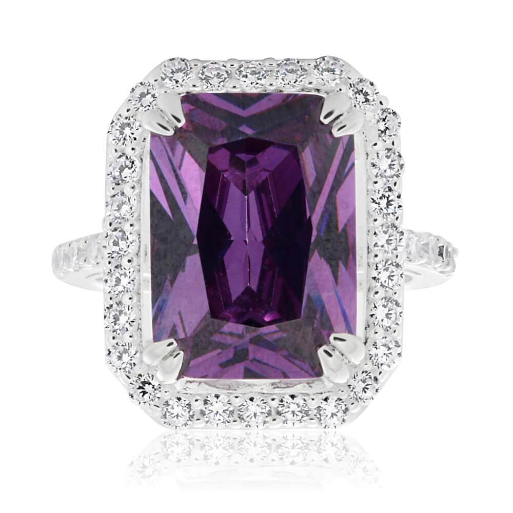 Sterling Silver Purple Cubic Zirconia Emerald Cut Halo Ring