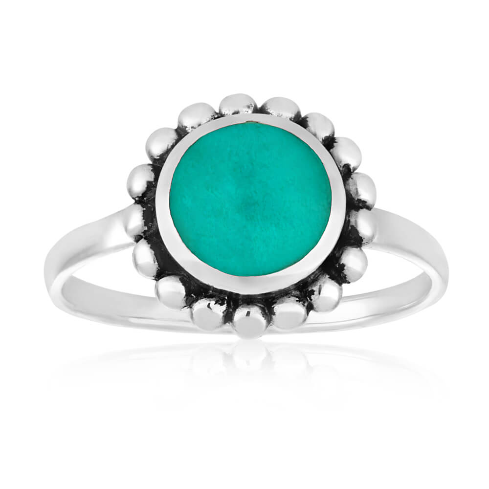Oxidised Sterling Silver Created Turquoise Ring
