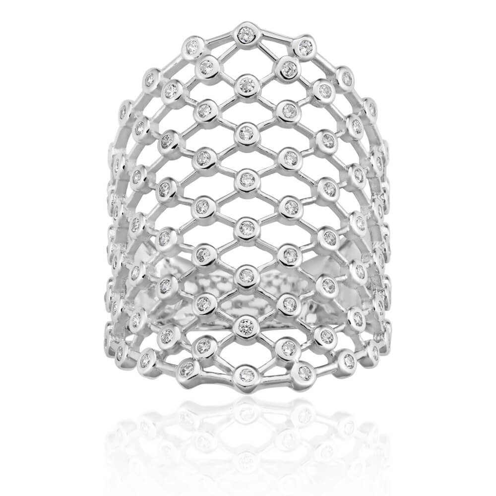Sterling Silver Rhodium Plated Cubic Zirconia Lattice Wide Band Ring