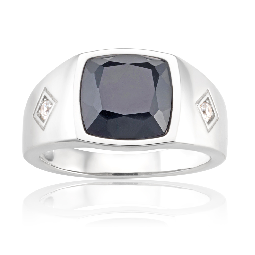 Sterling Silver Rhodium Plated Onyx and Zirconia Square Gents Ring