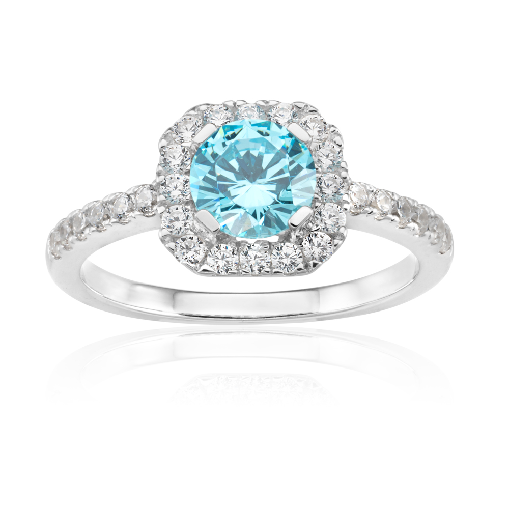 Sterling Silver Rhodium Plated Light Blue Zirconia Asscher Cut Halo Ring