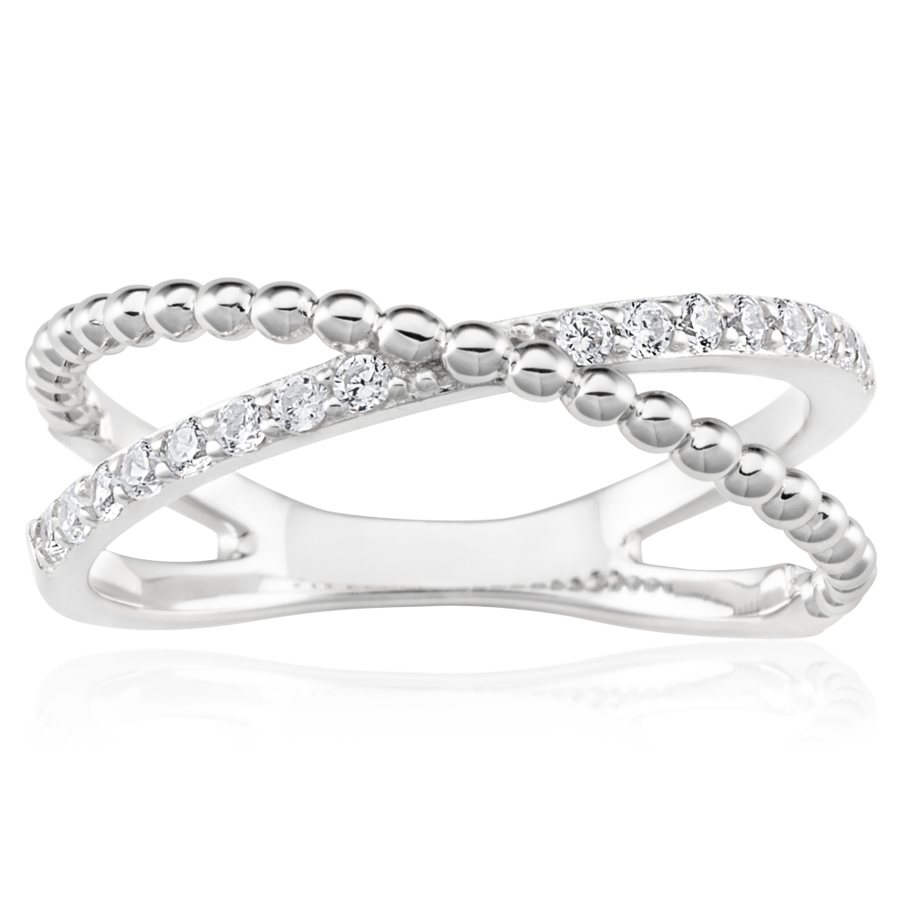 Sterling Silver Rhodium Plated Cubic Zirconia Beaded Crossover Ring