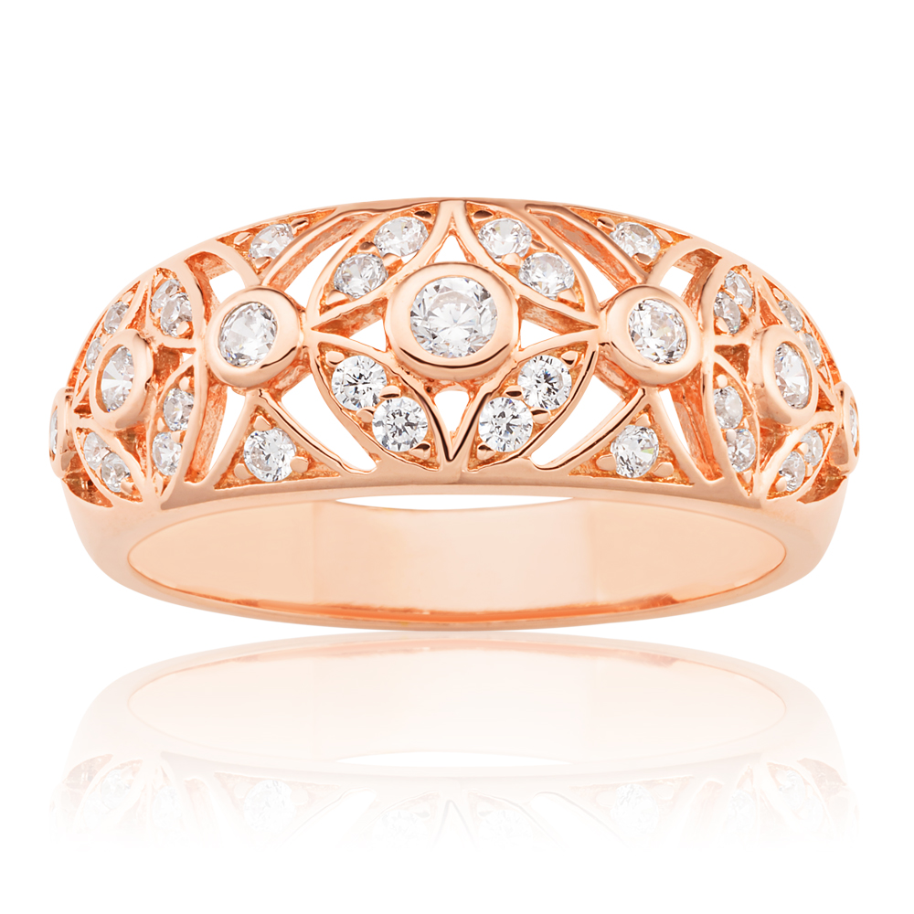 Sterling Silver Rose Gold Plate Cubic Zirconia Fancy Ring