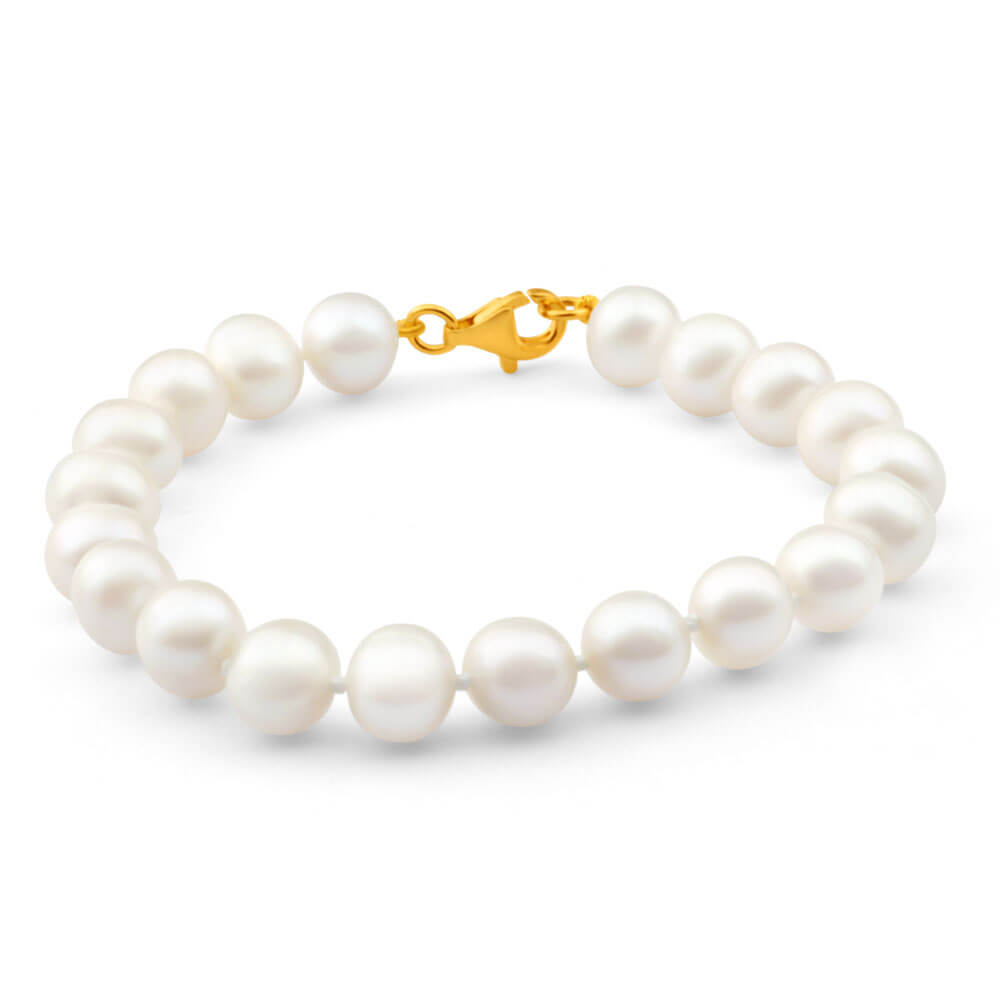 Cream Freshwater Pearl Circled 19cm Bracelet with Gold Plated Sterling Silver Clasp