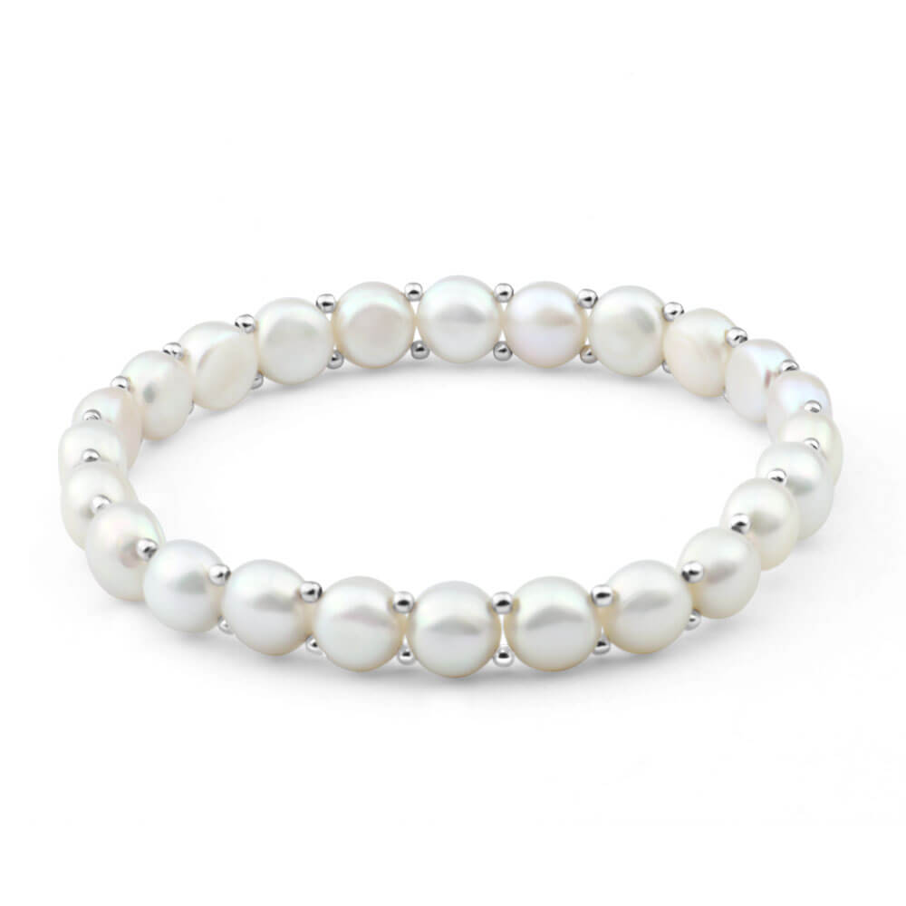 White Freshwater Flat Pearl Stretch Bracelet with Sterling Silver Beads