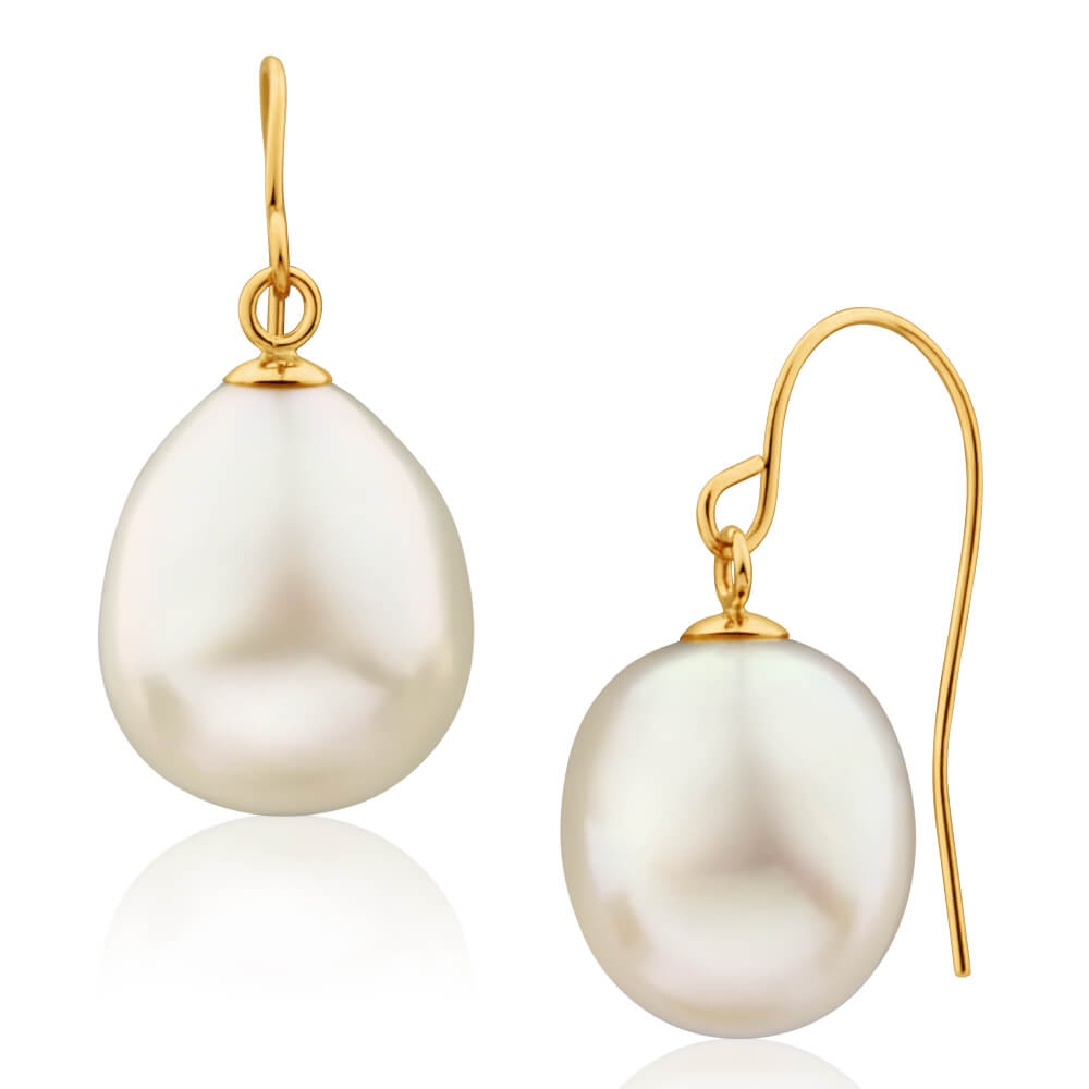 'Arizona' 9ct Yellow Gold White Freshwater Pearl Drop Earrings