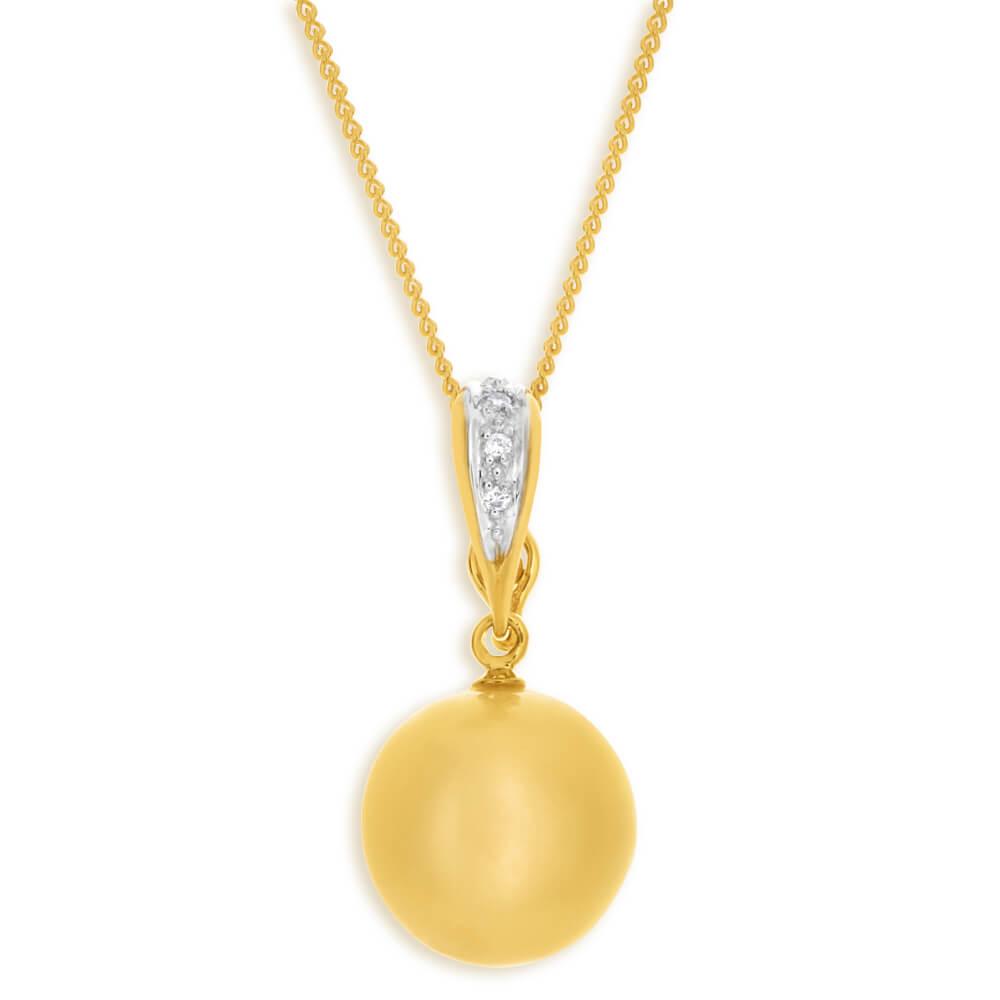 'Bella' 9ct Yellow Gold Cream Golden Pearl Pendant With 45cm Chain