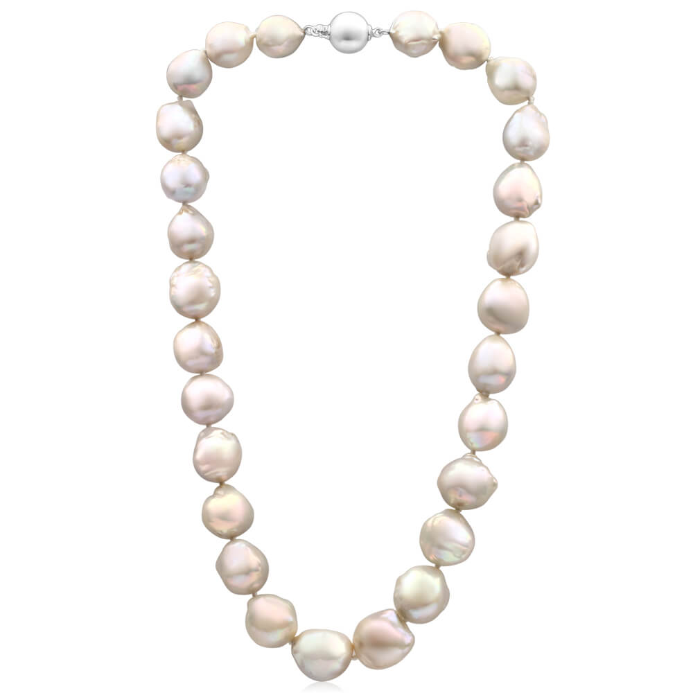 'Meiko' Sterling Silver 13mm White Baroque Pearl 45cm Necklace