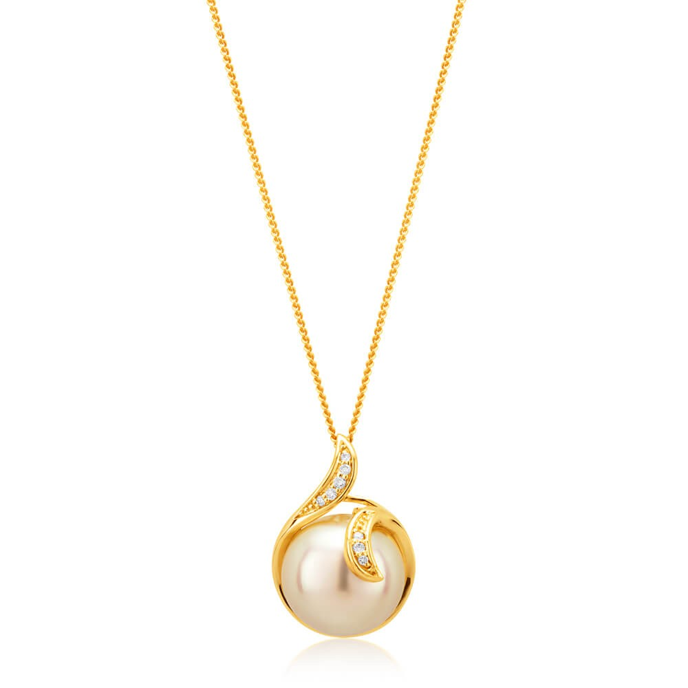 9ct Yellow Gold Golden Pearl and Diamond Pendant