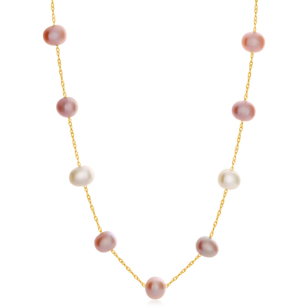14ct Yellow Gold Mixed Colour Freshwater Pearl 45cm Necklace