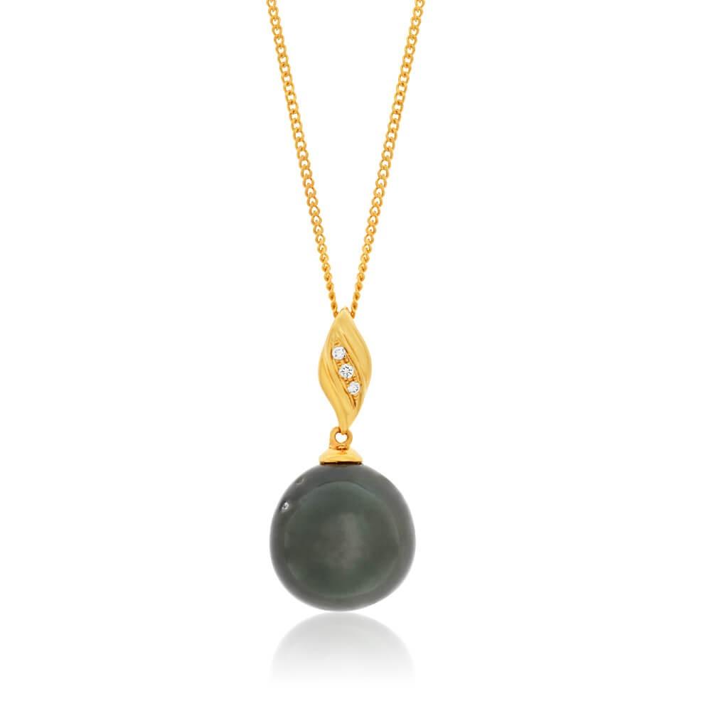 9ct Yellow Gold Black Tahitian Pearl Pendant