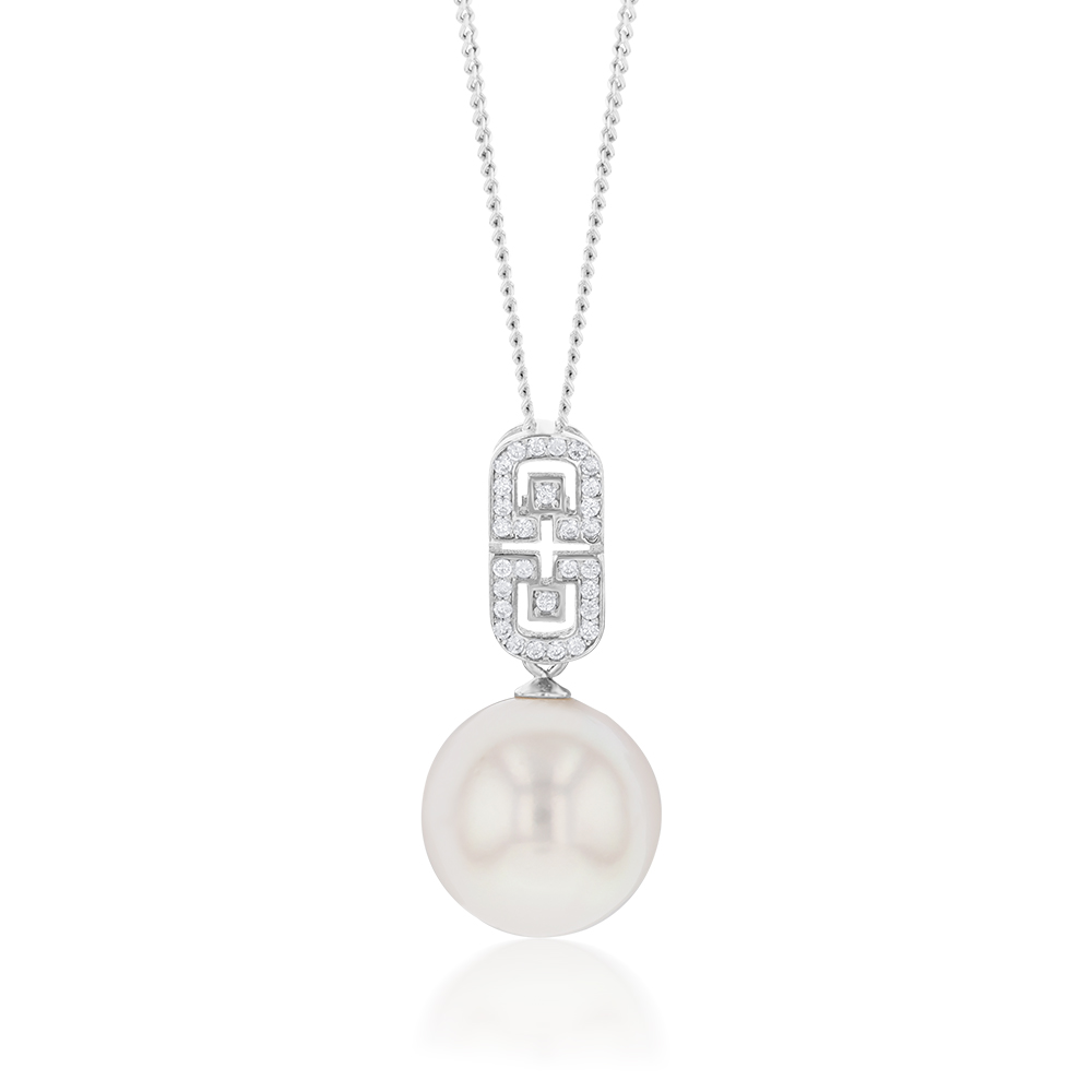 """Sterling Silver South Sea Pearl and Zirconia Pendant  """"Lola"""""""