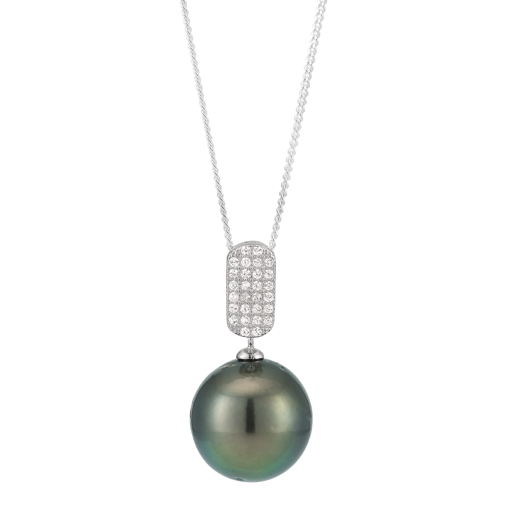 Sterling Silver Tahitian Pearl & Zirconia Pendant with 45cm chain