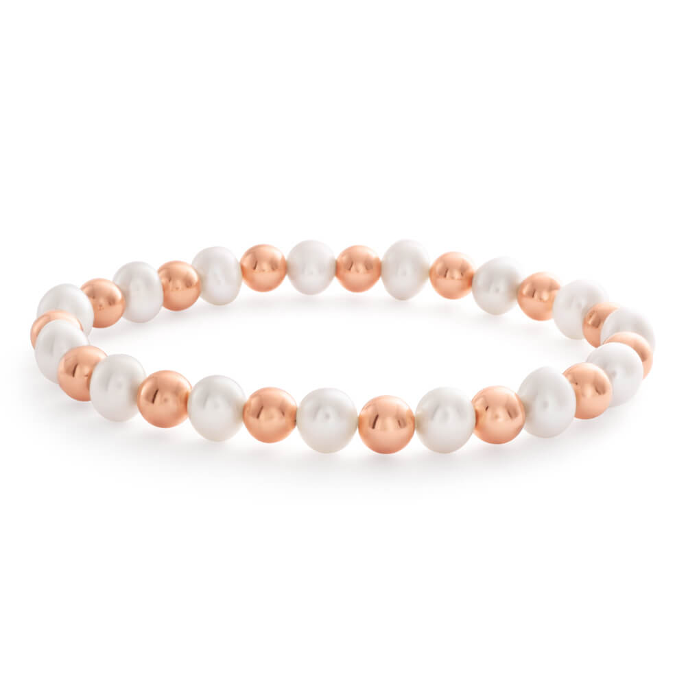 6.5mm Mixed Colour Freshwater Pearl 17.5cm Bracelet with Rose Tone Hematite Beads