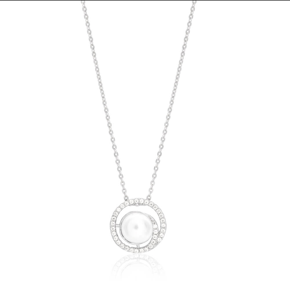 Sterling Silver White Freshwater Pearl Circle Pendant with Chain