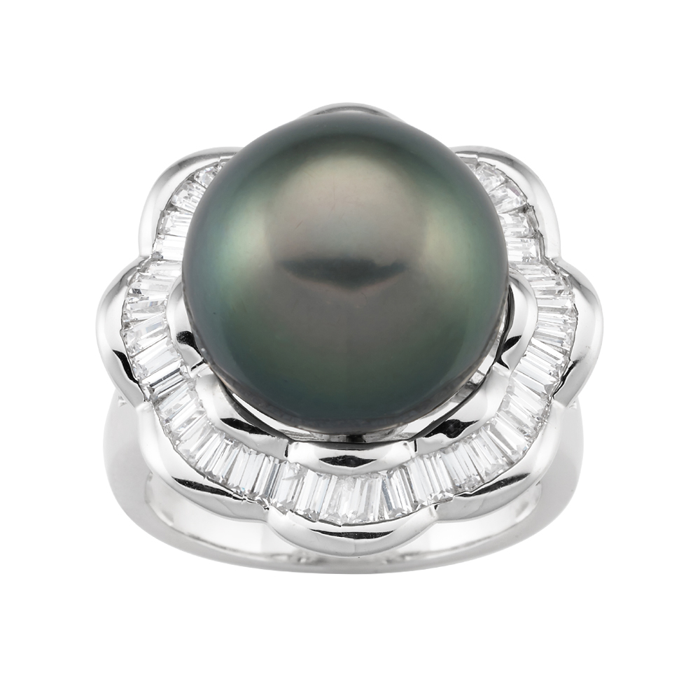 Sterling Silver Tahitian Pearl & Zirconia Ring