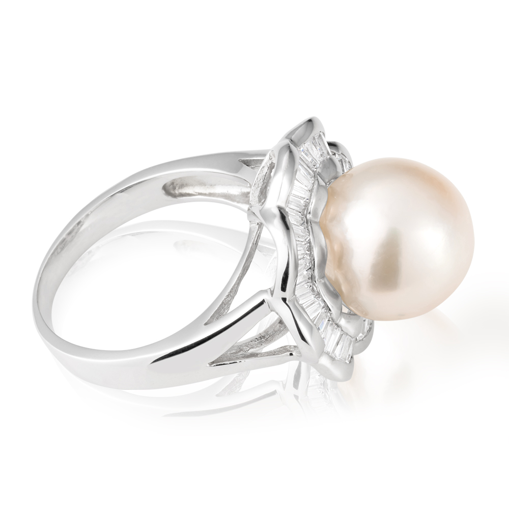South Sea Pearl & Zirconia Sterling Silver Ring