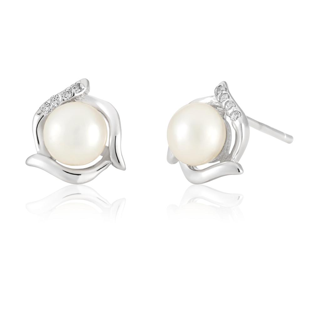 White 9x10mm Freshwater Pearl Stud Earrings