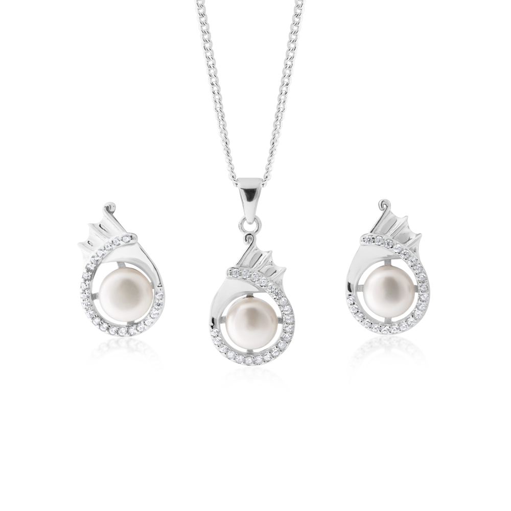 FRESHWATER PEARL EARRINGS & PENDANT SET SS WITH CHAIN