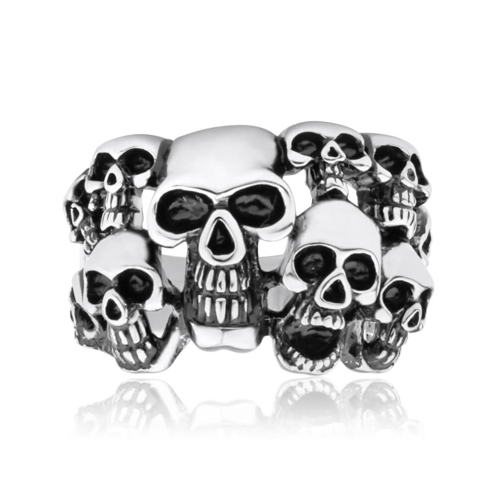 Forte Stainless Multiple Skulls Steel Ring