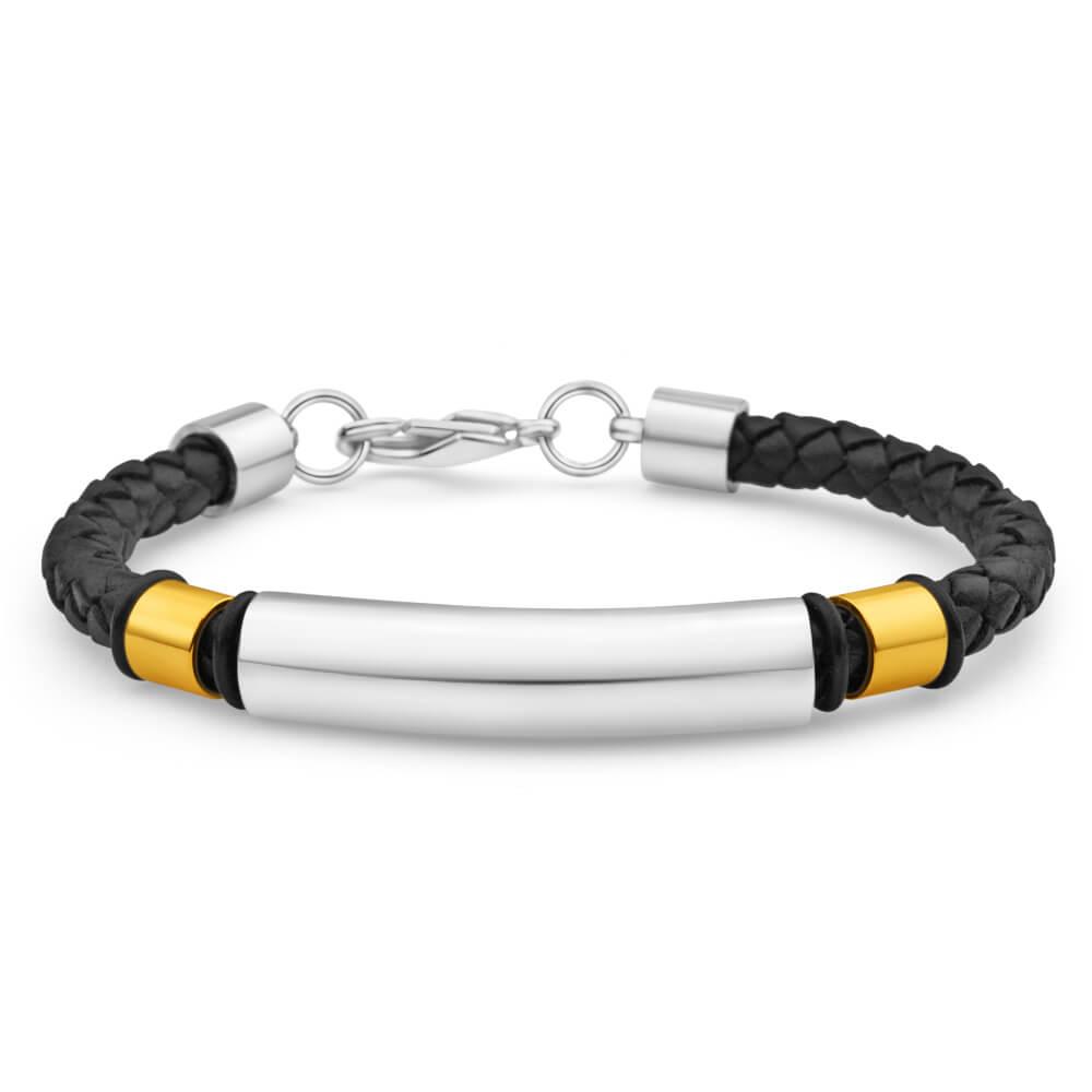 Forte Black Leather Fancy Barrel Bracelet