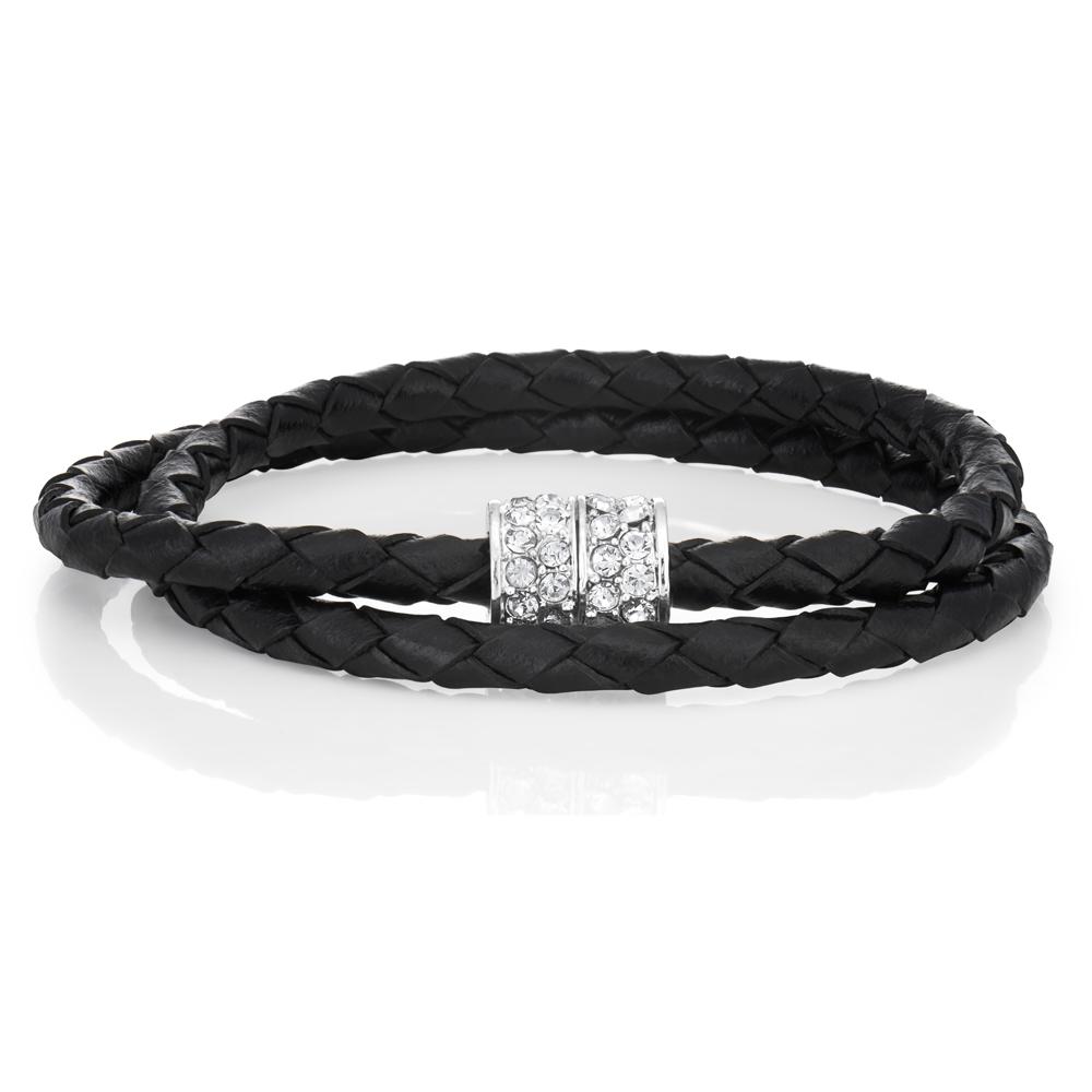 Stainless Steel Crystal Double Wrap Fancy Bracelet