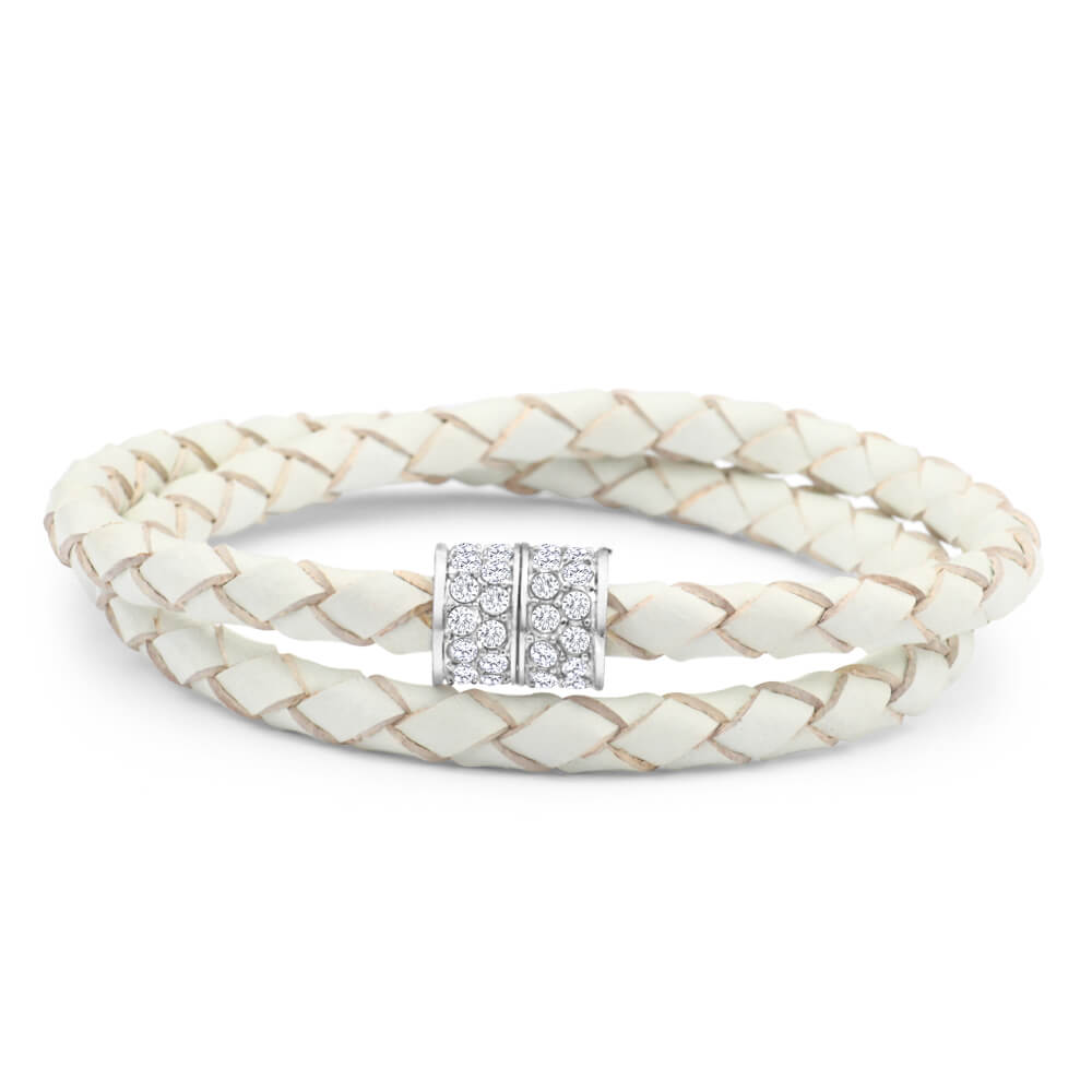 White Double Leather Wrap Crystal Magnetic Bracelet