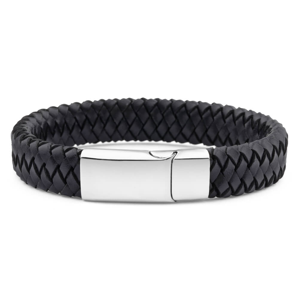 Forte Stainless Steel and Black Plaited Leather Gents Bracelet 20cm
