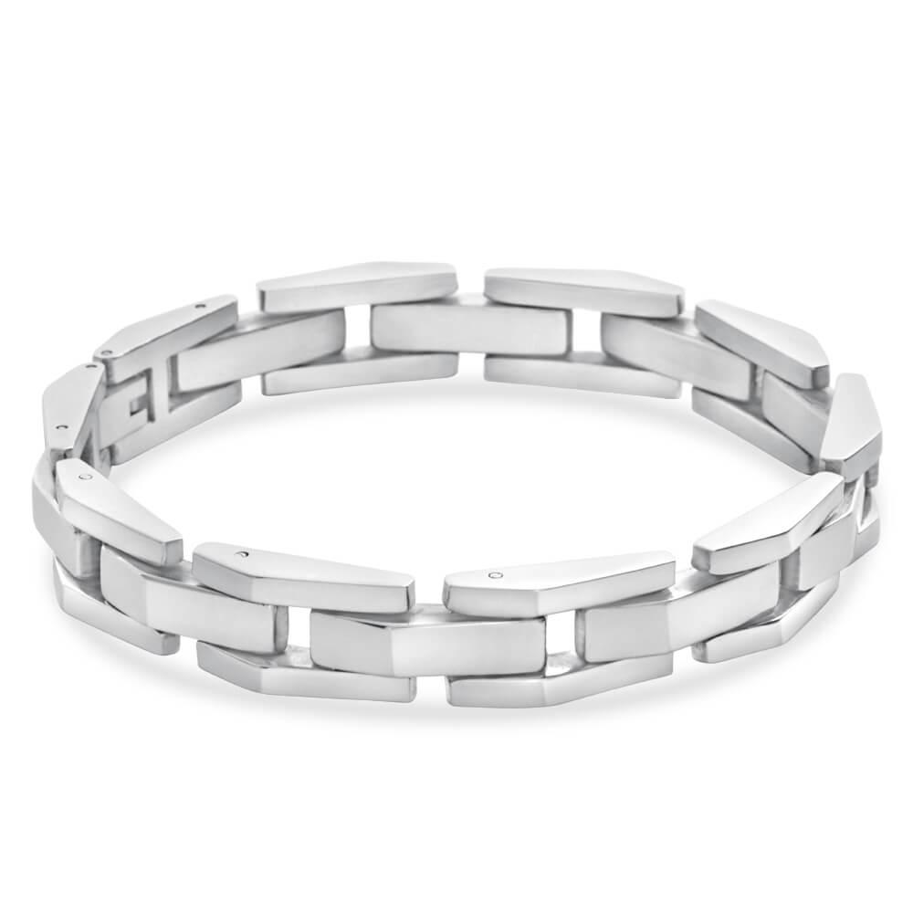Forte Stainless Steel Plain Link 21cm Gents Bracelet