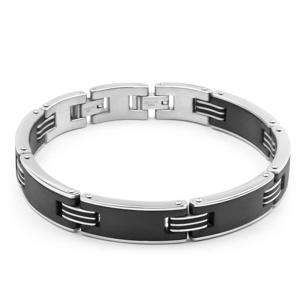 Forte Stainless Steel Black Link 21cm Gents Bracelet
