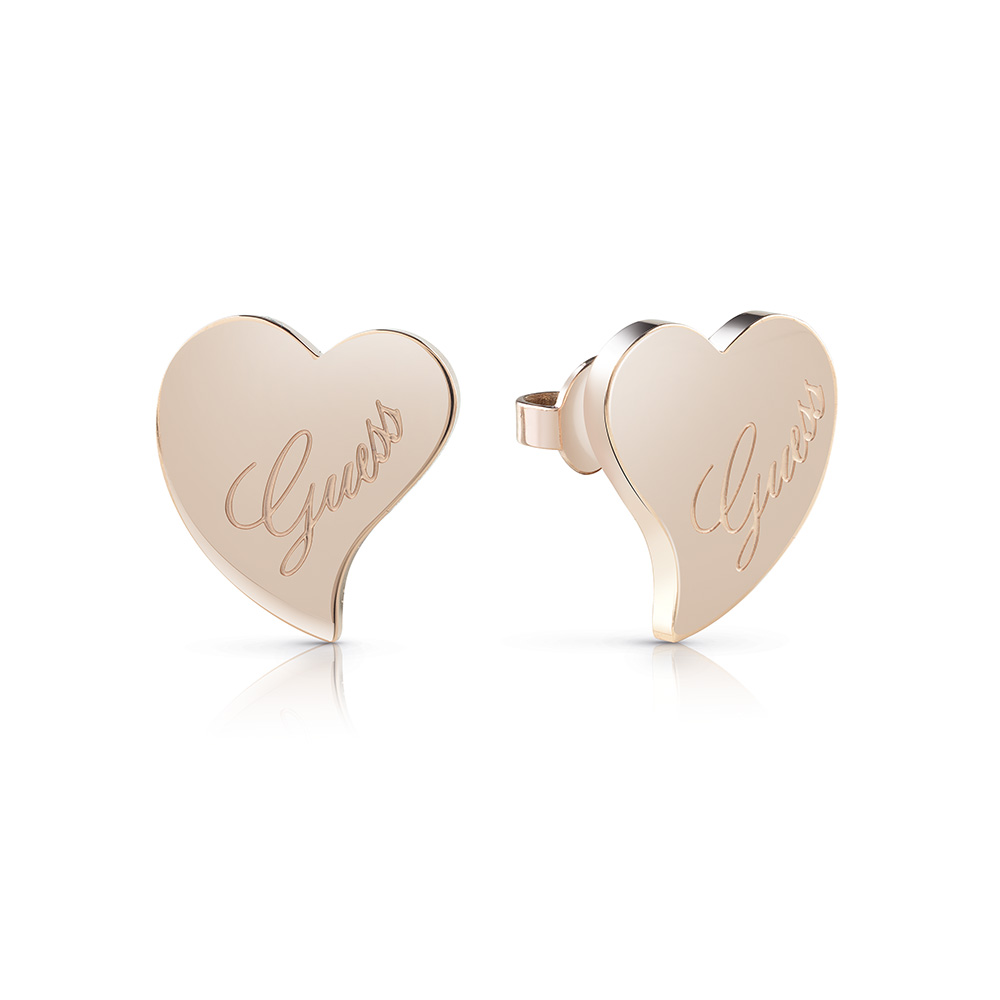 Guess Gold Plated Love Hearts Stud Earrings