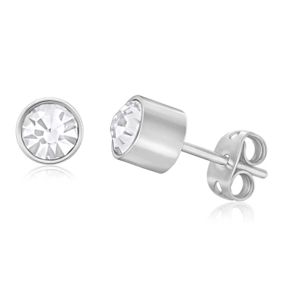 Forte Stainless Steel Swarovski Crystal Stud Earrings