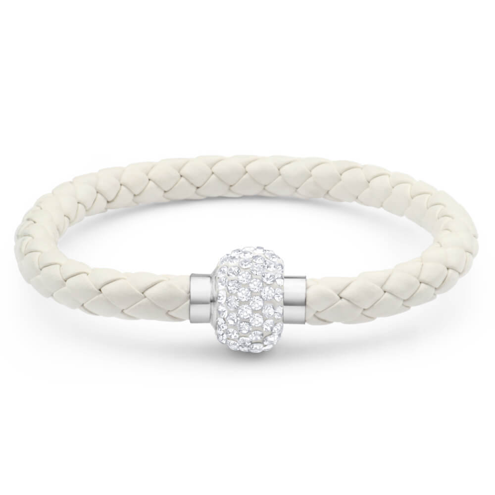 Stainless Steel Crystal Magnetic White Fancy Bracelet